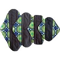 Juego de 4 almohadillas para orejas de bambú reutilizables, lavables, impermeables, de carbón vegetal, sanitarias, sanitarias, para mamá, WSDA7, Una talla