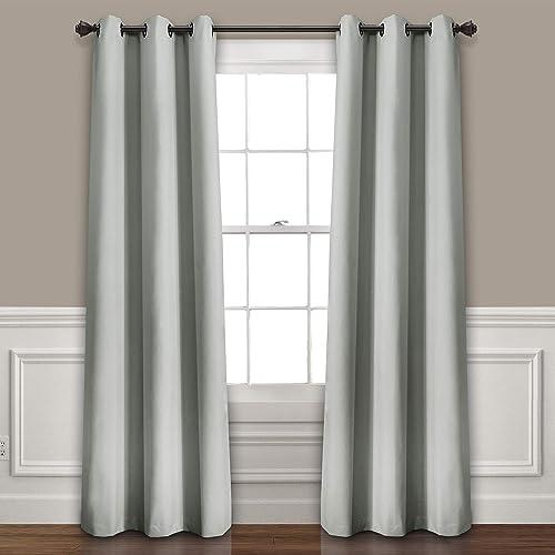 Lush Decor Absolute Blackout Light Gray Insulated Grommet Window Curtain Panel Pair Room Darkening, Energy Efficient, 95 x 38