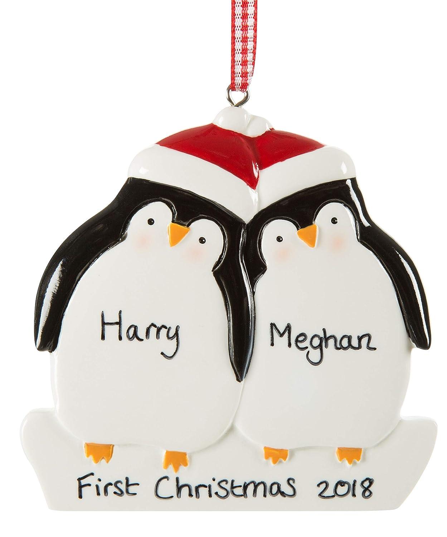 Alphabet barn Personalised Couple Christmas Tree Bauble Decoration | Xmas Ornament | Penguin family of 2 | With keepsake gift bag