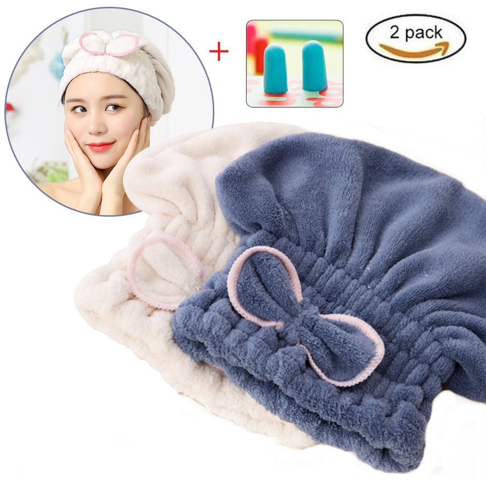 DS-Space Adjustable Microfiber Cute Hair Drying Cap, Ultra Soft Absorbent Dry Hat Hair Wrap Towel, Reduce Hair Drying Time for Women Adults or Kids Girls (White and Blue)