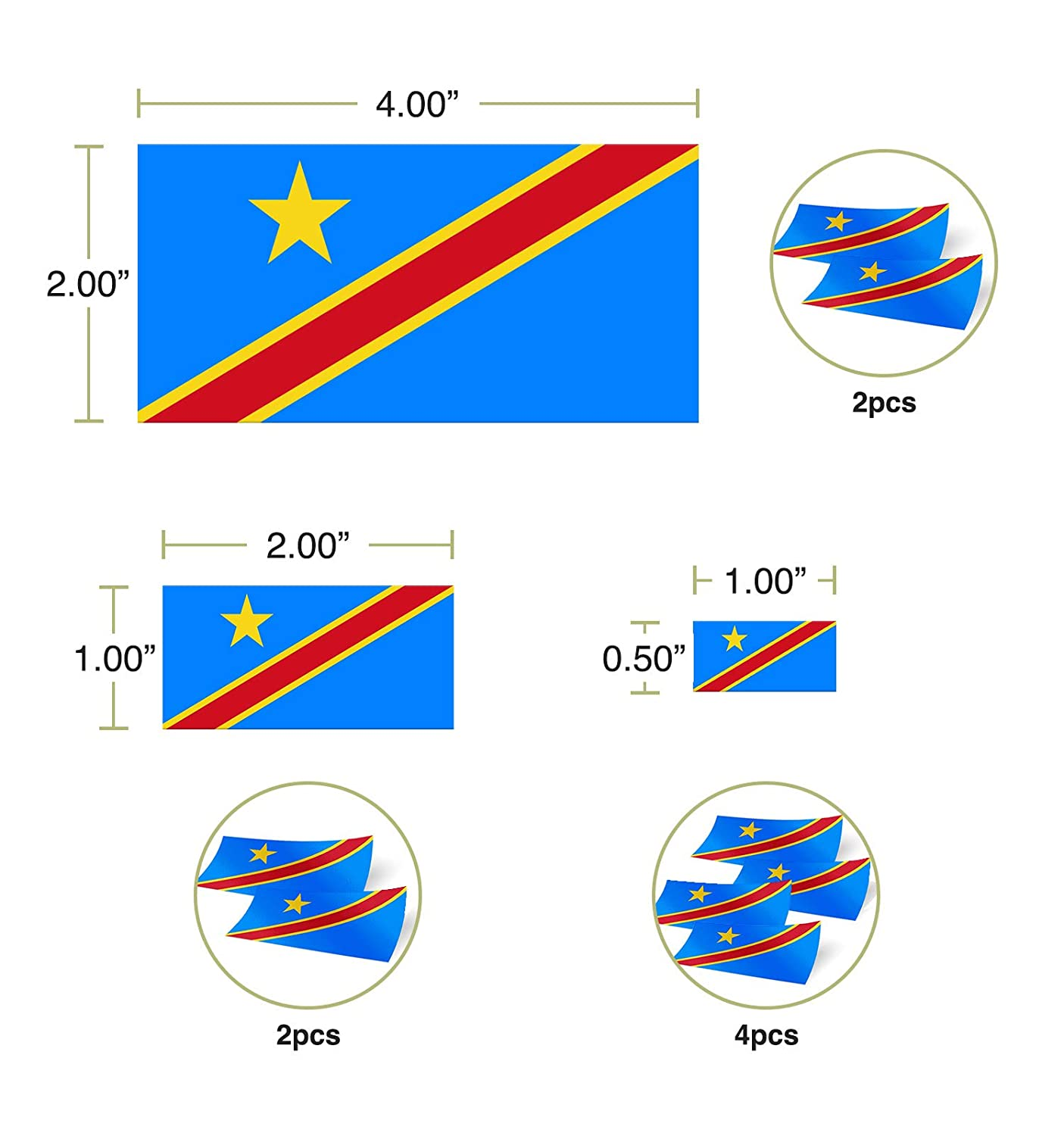 Desert Cactus Democratic Republic of The Congo Country Flag Sticker Decal Variety Size Pack 8 Total Pieces Kids Logo Scrapbook Car Vinyl Window Bumper Laptop V