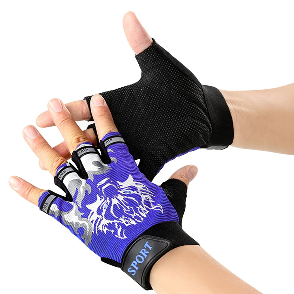 Kids Half Finger Summer Bicycle Cycling Gloves Roller-skating Gloves Breathable Outdoor Sports Cycling Riding Climbing Scooter Bike Gloves Gift Black