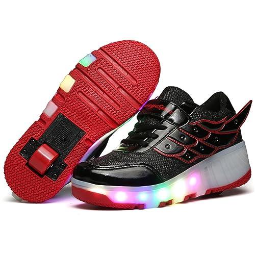 e3e5cc5ab ❤❤❤ Unisex Led Luz Automática de Skate Zapatillas con Ruedas Zapatos  Patines Deportes Zapatos para Niños Niñas ❤❤❤  Amazon.es  Zapatos y  complementos