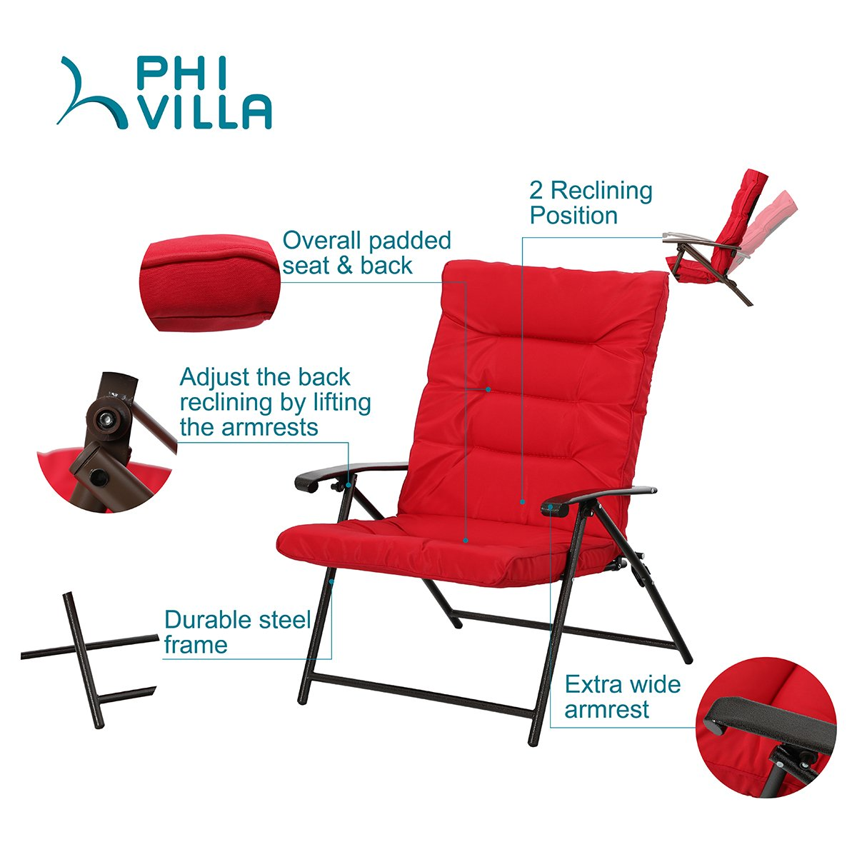 Amazon.com: PHI VILLA Patio - Juego de 3 sillas plegables ...