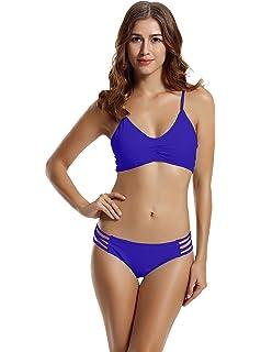 54bac08381 zeraca Women's Strap Side Bottom Halter Racerback Bikini Bathing Suits  (FBA) Red