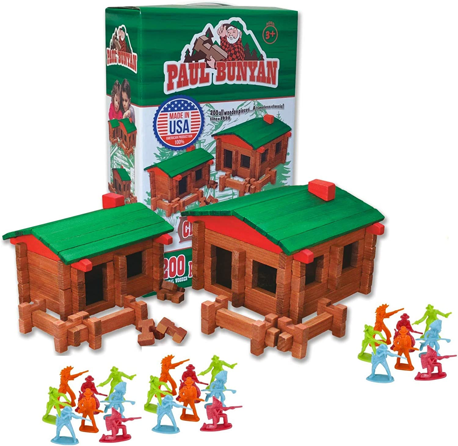 GRANITE MOUNTAIN PRODUCTS Paul Bunyan Log Building Toy Set with Cowboys and Indians: 200 Piece All Wood Log Cabin Building Set with 24 Cowboy and Indian Figures