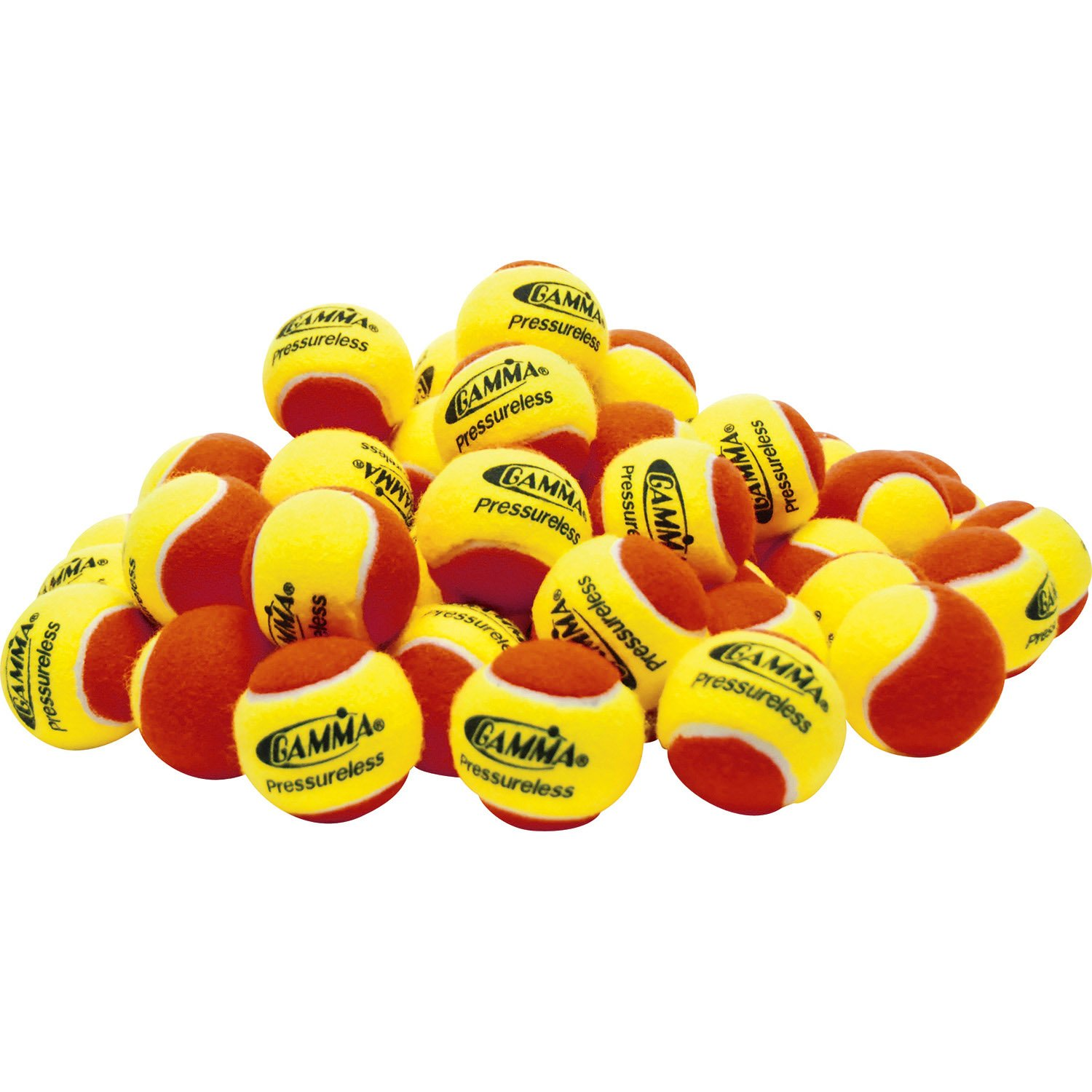 Gamma Sports Pressureless Practice Tennis Balls, Yellow/Red - Pack of 60