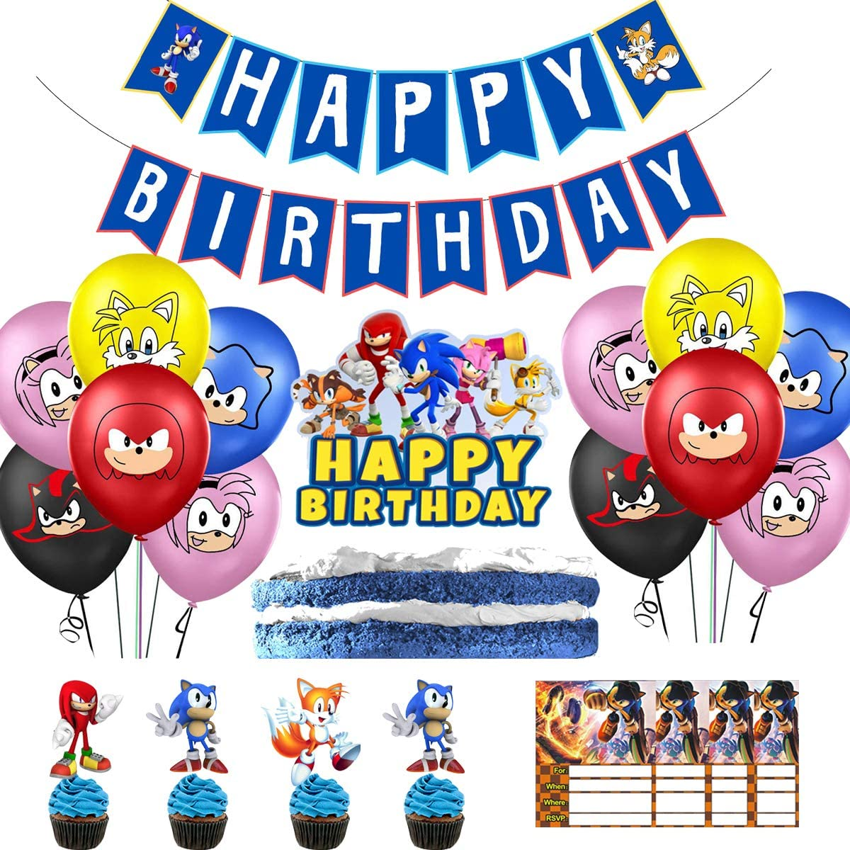 Amazon Com Cike Birthday Party Supplies Including Sonic The Hedgehog Banner Cake Hat 20 Cake Hat 20 Balloons 10 Invitation Cards Blue Large Clothing