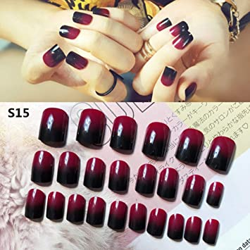 Amazon.com: 24 uñas postizas de color negro y rojo degradado ...