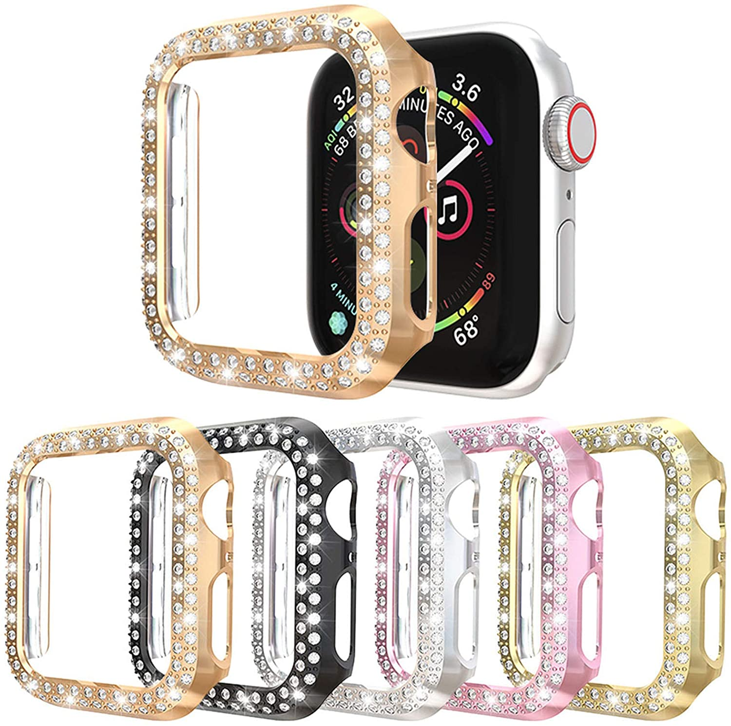 5Pack Protector Case Compatible with Apple Watch SE Series 6 5 4 44mm Cover, Double Row Bling Crystal Diamonds Protective Cover PC Plated Bumper Frame Accessories (5 Colors, 44mm)