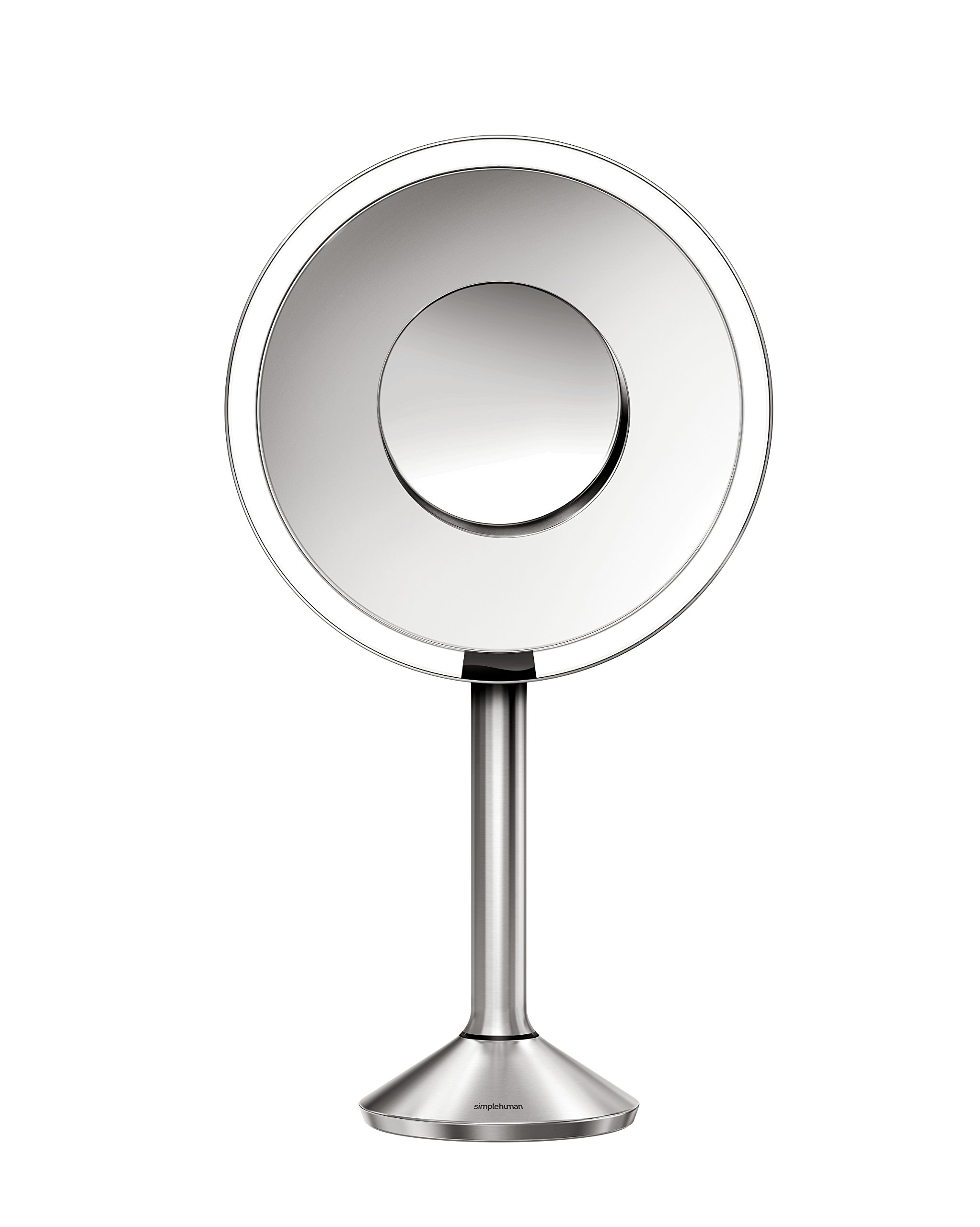 simplehuman Sensor Lighted Makeup Vanity Mirror Pro 8'' Round, 5x + 10x Dual Magnification, Rose Gold Stainless Steel, Rechargeable And Cordless