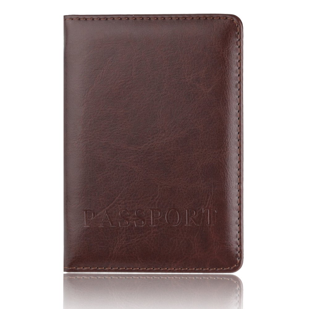 ❤️ Sunbona Card Holder Wallet Leather Passport Holder Protector Wallet Business Card Soft Passport Cover With ID Window (Coffee) by Sunbona (TM) (Image #4)
