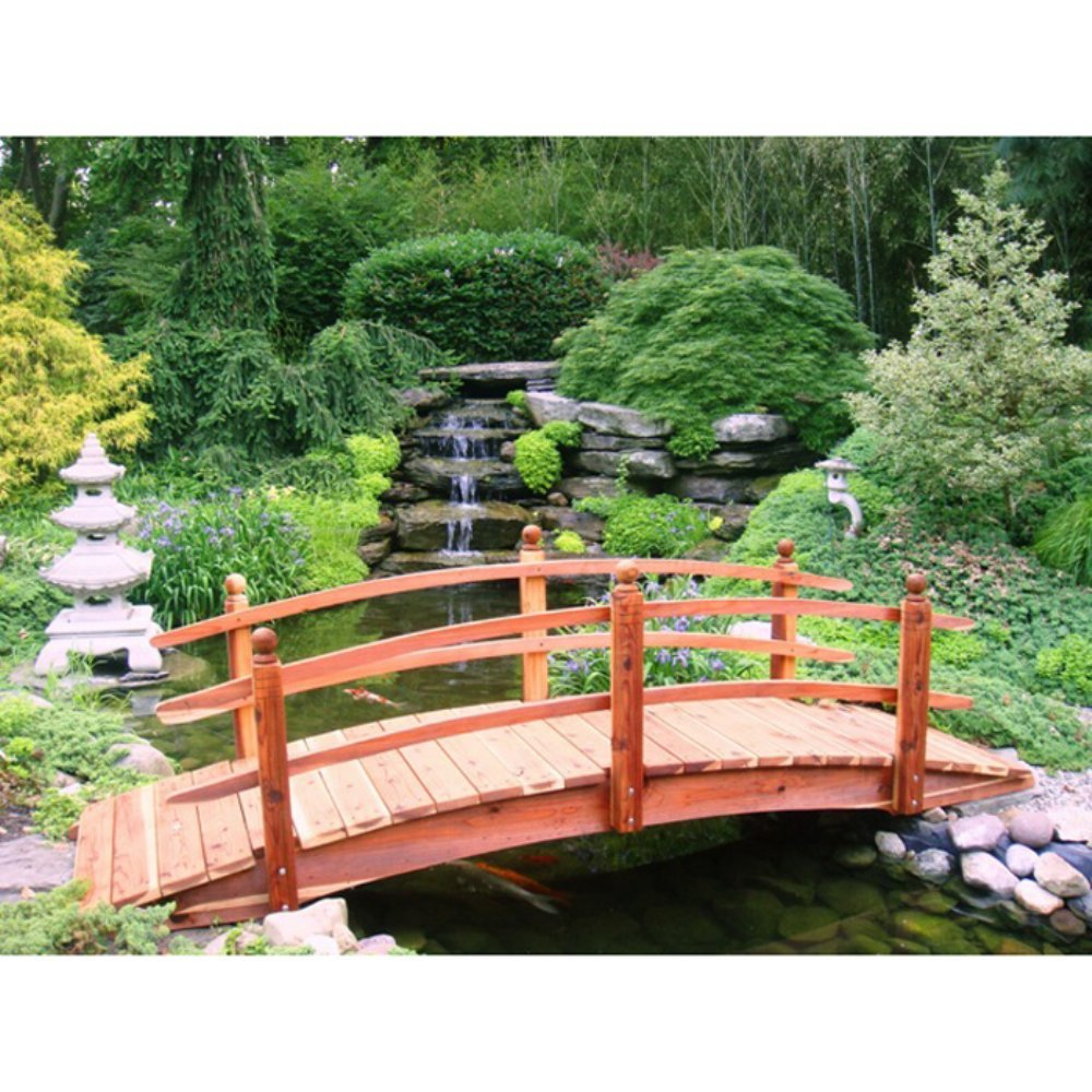 10 ft. Short Post Garden Bridge (Short Post Garden Bridge w Lights) by Redwood Garden Bridges