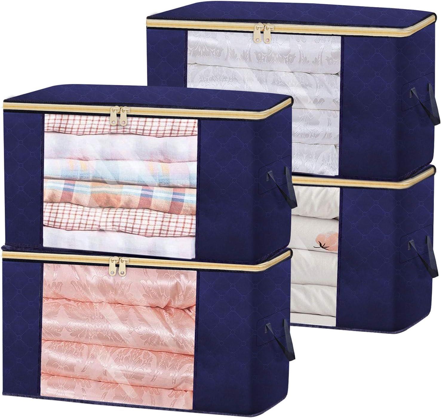 Clothes Storage Bag Organizer 90L Large Capacity Foldable Closet Storage Contain