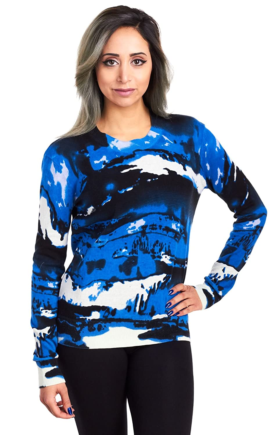 Philosophy Women's Long Sleeve Crew Neck Printed Pullover Sweater