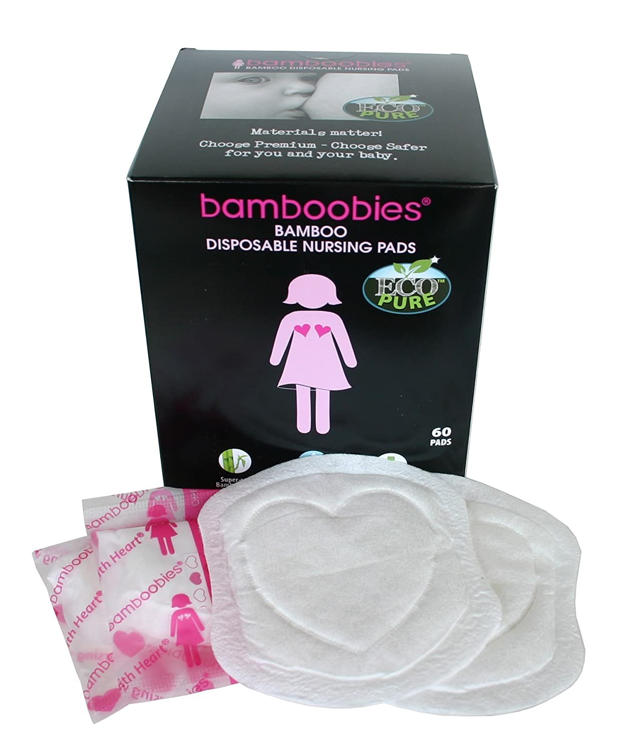 bamboobies 2 Piece Disposable Nursing Pads for Breastfeeding, 60 Count SOFT Style Inc. DISP1