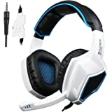 Sades SA920 PS4 Gaming Headset, New Xbox One X Gaming Headphones with mic, 3.5mm Over-Ear Bass Stereo, Noise Cancelling, Volume Control for PC,Mac,Laptop,Tablet,iPad,iPod,SmartPhone(White)