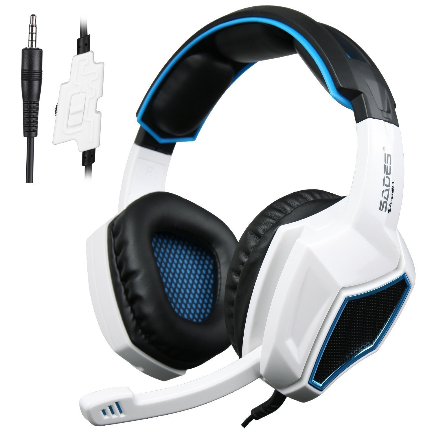 Sades SA920 3.5mm Wired Stereo Gaming Over Ear Headset with Microphone and Revolution Volume Control for Xbox One / Xbox 360 / PS4 / PC /Cell phones / iPad (Black/White) by SADES