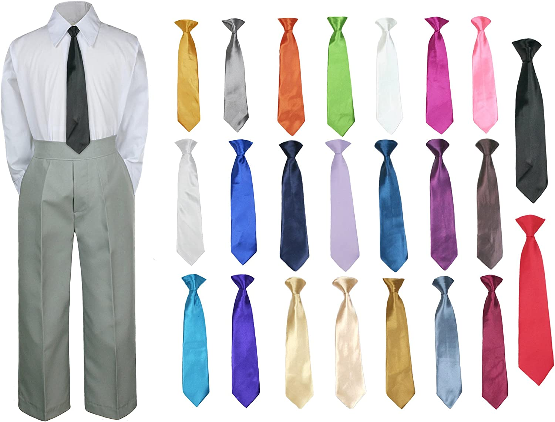 Unotux 3PC Shirt Gray Pants Nectie Set Baby Boy Toddler Kid Formal Suit Sm-230
