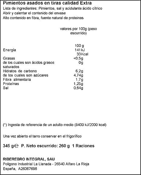 Pimiento gutarra asado tiras 260g: Amazon.es: Alimentación y bebidas
