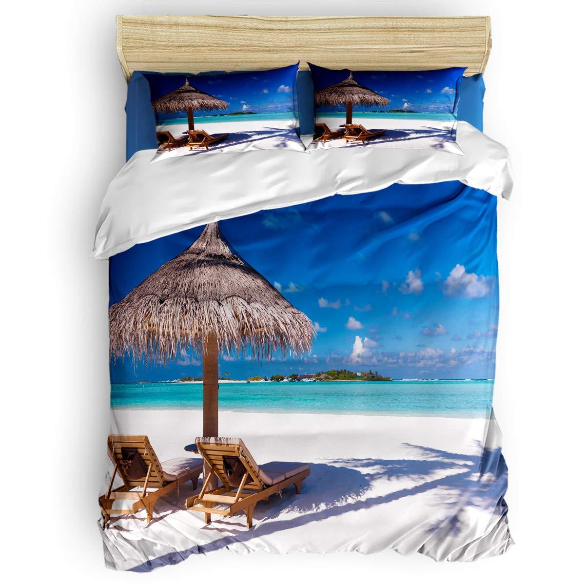 掛け布団カバー 4点セット 海景 夕暮れ ココナッツの木 ビーチ 寝具カバーセット ベッド用 べッドシーツ 枕カバー 洋式 和式兼用 布団カバー 肌に優しい 羽毛布団セット 100%ポリエステル クイーン B07TGD3GRL White BeachLAS4946 クイーン