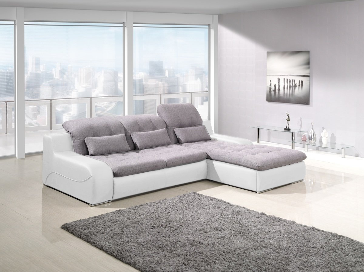 bavaria weiss grau schlaf luxus modern sofa couch l form mit bettkasten ebay. Black Bedroom Furniture Sets. Home Design Ideas