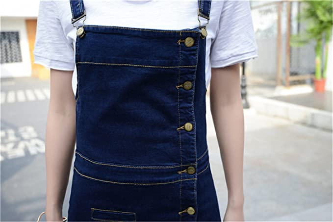 cdeb95dc21 Luodemiss Women s Plus Size Denim Cute Overall Dress Front Button Down  Jeans Shortall Dresses at Amazon Women s Clothing store