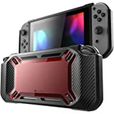 Mumba case for Nintendo Switch, [Heavy Duty] Slim Rubberized [Snap on] Hard Case Cover for Nintendo Switch 2017 Release (Red/Black)