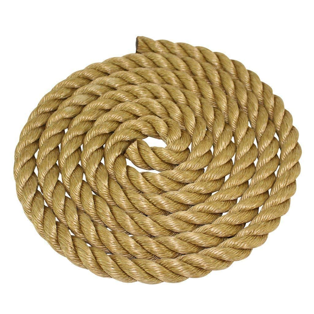 SGT KNOTS ProManila Rope (1.5 inch) UnManila Tan Twisted 3 Strand Polypropylene Cord - Moisture, UV, and Chemical Resistant - Marine, DIY Projects, Crafts, Commercial, Indoor/Outdoor (50 ft)