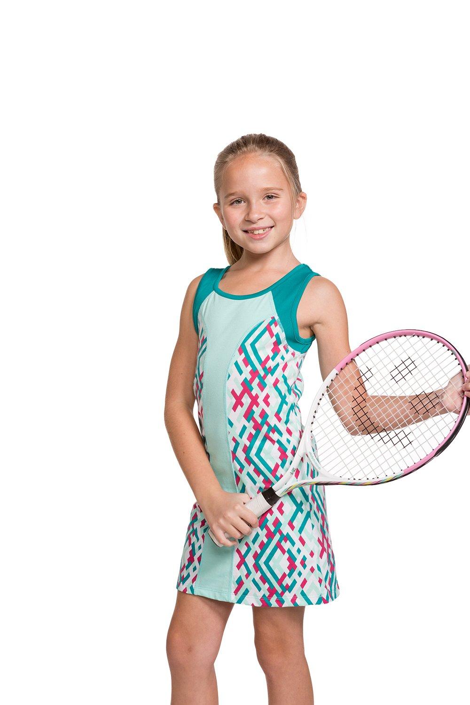 Street Tennis Club Girls Tennis Sleeveless Dress with Shorts Beach Glass/Aqua Blue L