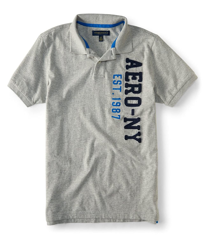 Aeropostale Men's Vertical Logo Jersey Polo Shirt
