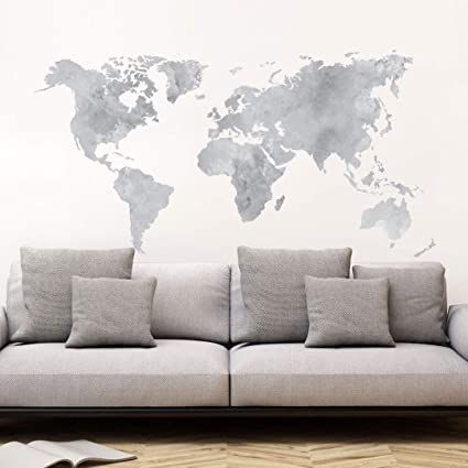 Amazon wall sticker wall decal water colour world map grey wall sticker wall decal water colour world map grey art 3707 gumiabroncs Image collections