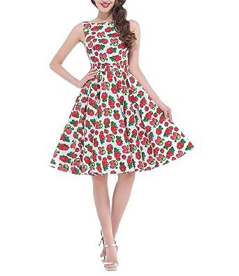 Dress Vintage 50s 60s Rockabilly Cotton Sleeveless Audrey Hepburn Robe Retro Vestido Party Dress,10