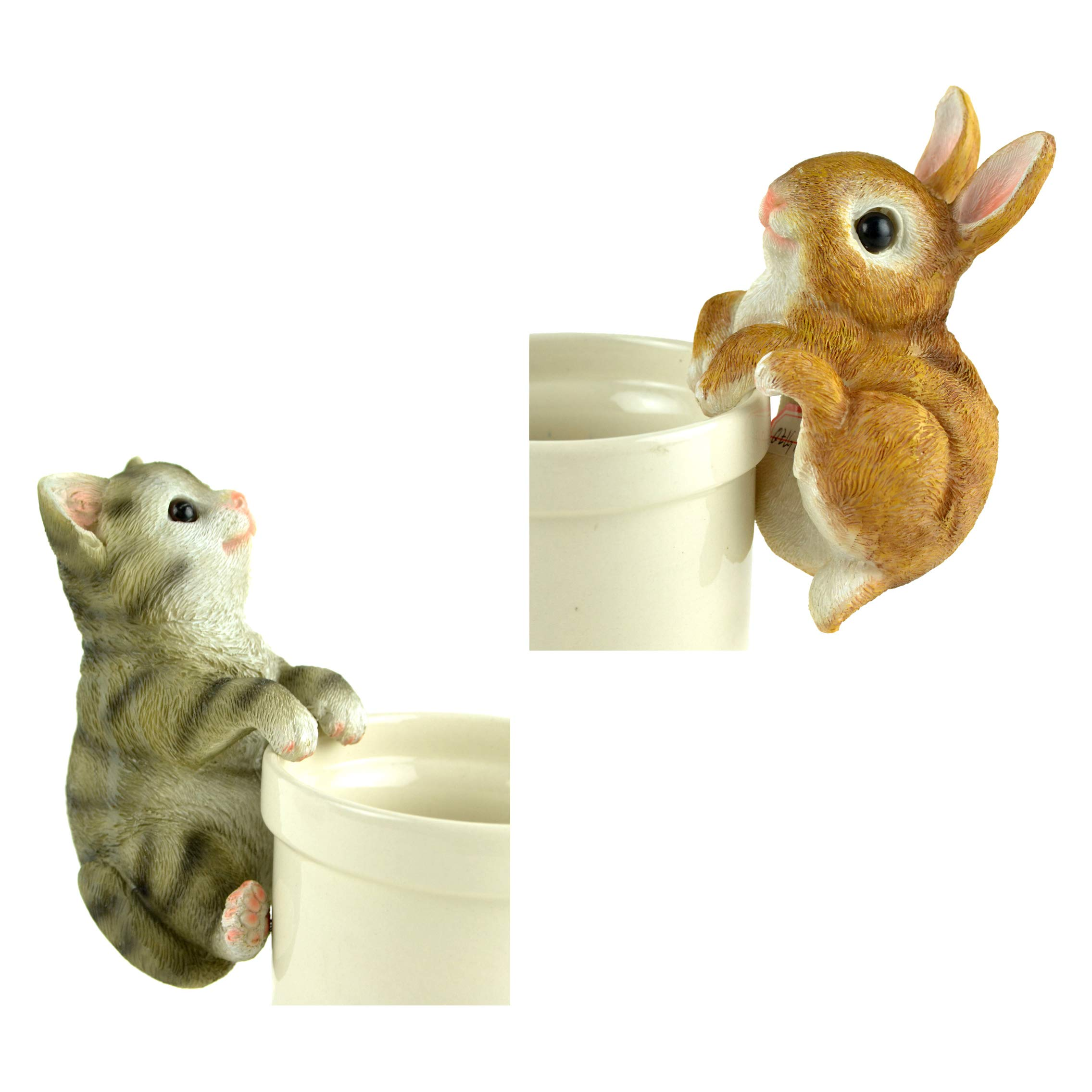 Clever Home Adorable Animal Flower Pot Hugger Figurines (Brown Bunny and Grey Cat)
