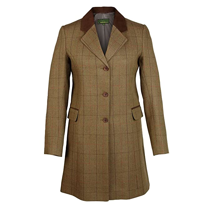 0b4fd4247cd7 York 123  Women s Brown Tweed Coat  Amazon.co.uk  Clothing