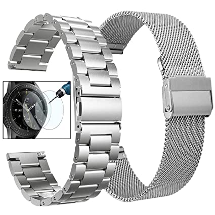Koreda Compatible with Samsung Galaxy Watch (42mm)/Galaxy Watch Active/Active2 Bands Sets, 20mm Stainless Steel Metal Band + Mesh Loop Replacement ...