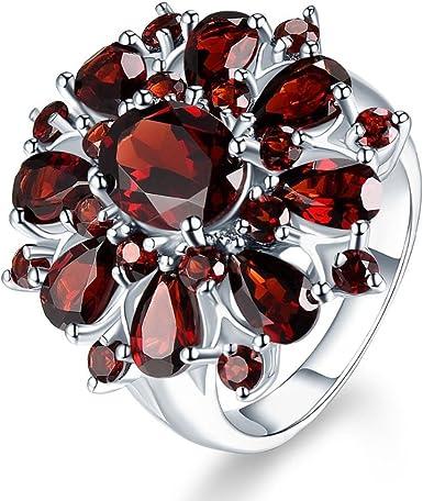 Plata De Ley Rubí y Diamante Anillo De Compromiso Tamaño QV