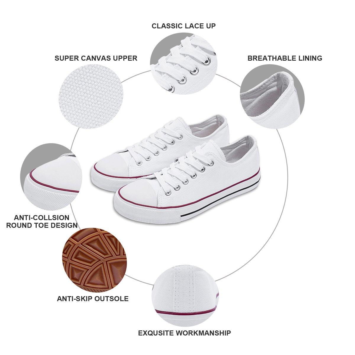 AOMAIS Womens Canvas Shoes Sneaker Low Top Lace up Fashion Walking Shoes (US7, white1) … by AOMAIS (Image #3)