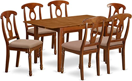 PSNA7-SBR-C 7 Pc dinette set – Table with Leaf and 6 Kitchen Chairs