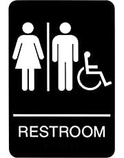 Headline Sign 9007 ADA Wheelchair Accessible Restroom with Tactile Graphic, 6-Inch by 9-Inch, Black/White