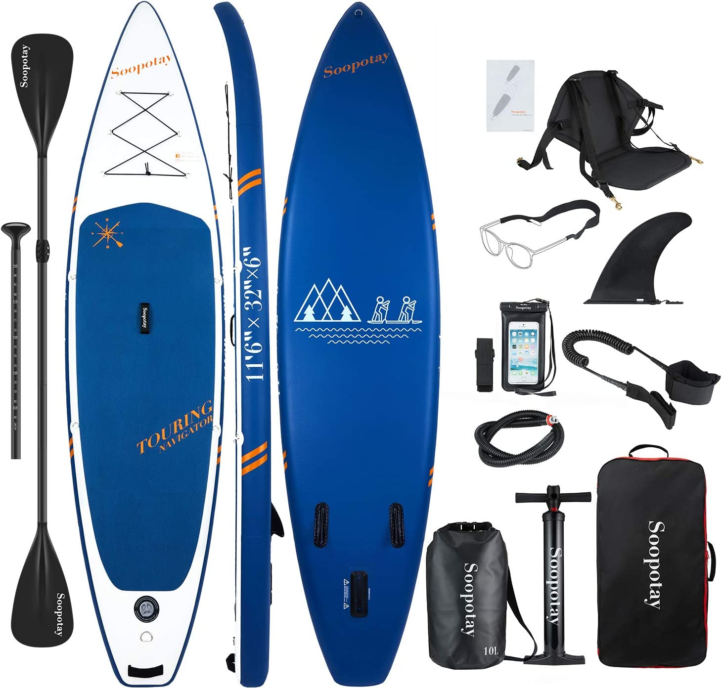 SOOPOTAY Inflatable SUP Stand Up Paddle Board, Inflatable SUP Board, iSUP Package with All Accessories Touring – Navy Blue-11 6 x 32 x 6