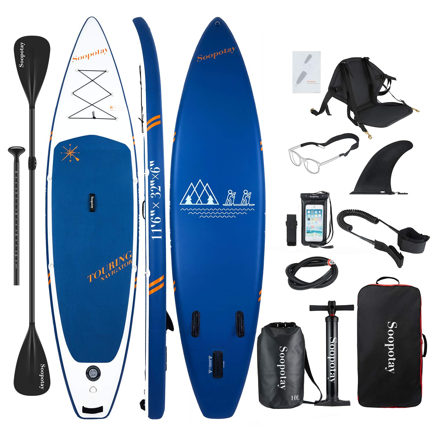 Inflatable SUP Board, Inflatable SUP Kayak, iSUP Package with All Accessories (Touring-Navy Blue-11'6'' x 32'' x 6'')