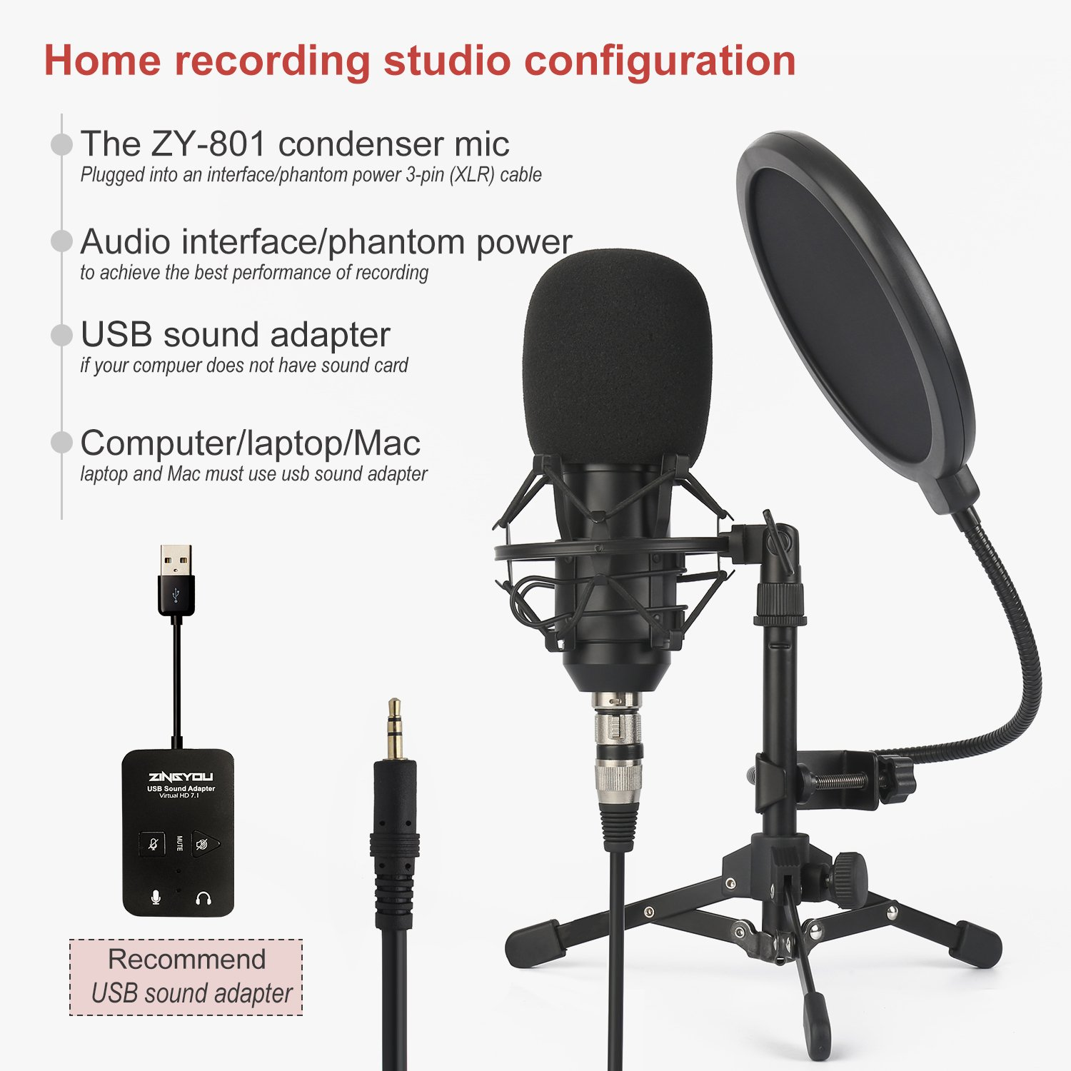 ZINGYOU ZY-801 Professional Studio Microphone, Desktop Computer Cardioid Condenser Mic with Tripod for PC Recording, Broadcasting (Black) by ZINGYOU (Image #5)
