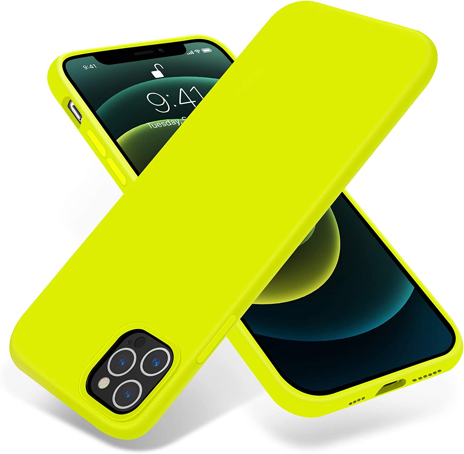 OTOFLY Compatible with iPhone 12 Pro Max Case 6.7 inch(2020),[Silky and Soft Touch Series]Premium Soft Liquid Silicone Rubber Full-Body Protective Bumper Case for iPhone 12 Pro Max(Fluorescent Yellow)
