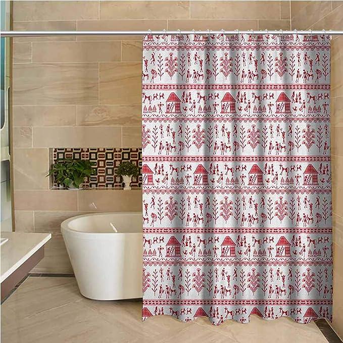 "72X72/"" Primitive Tribe Floral Skull Shower Curtain White Bath Bathroom Curtains"