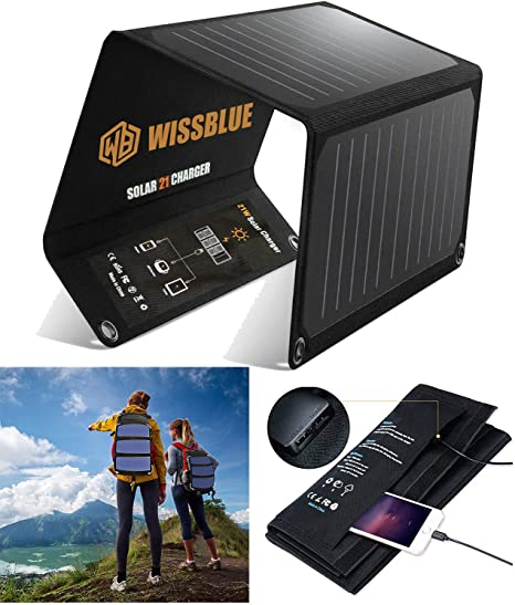 Solar Charger Solar Panel,VITCOCO 29W Solar Panel with Dual USB Ports 12V DC Output Current Display Function Waterproof Outdoor Portable Solar Panel Camping Travel for Cellphone,Tablet,Camera etc.
