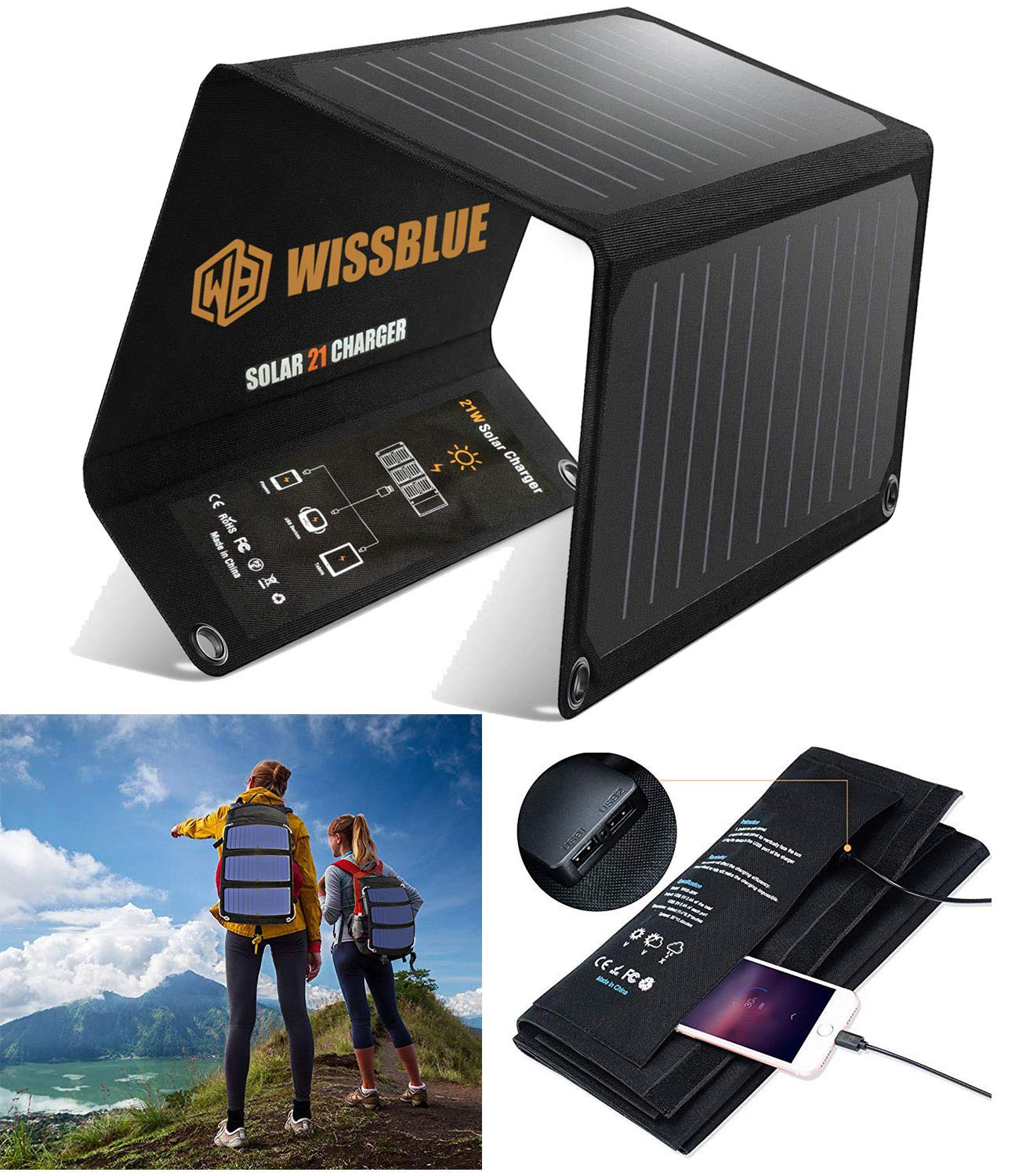 WISSBLUE Solar Charger, 21W Dual USB 4.2A Fast Solar Panel Charger, Portable Camping Travel Charger,Hiking,Hurricane, Emergency Backup. for All 5V Devices, iPhone iPad Samsung Kindle etc. by WISSBLUE