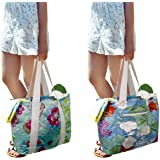 Earthwise Tyvek Reversible Reusable Shopping Tote Beach Pool Travel Bag Ultra Soft FOLDABLE Material