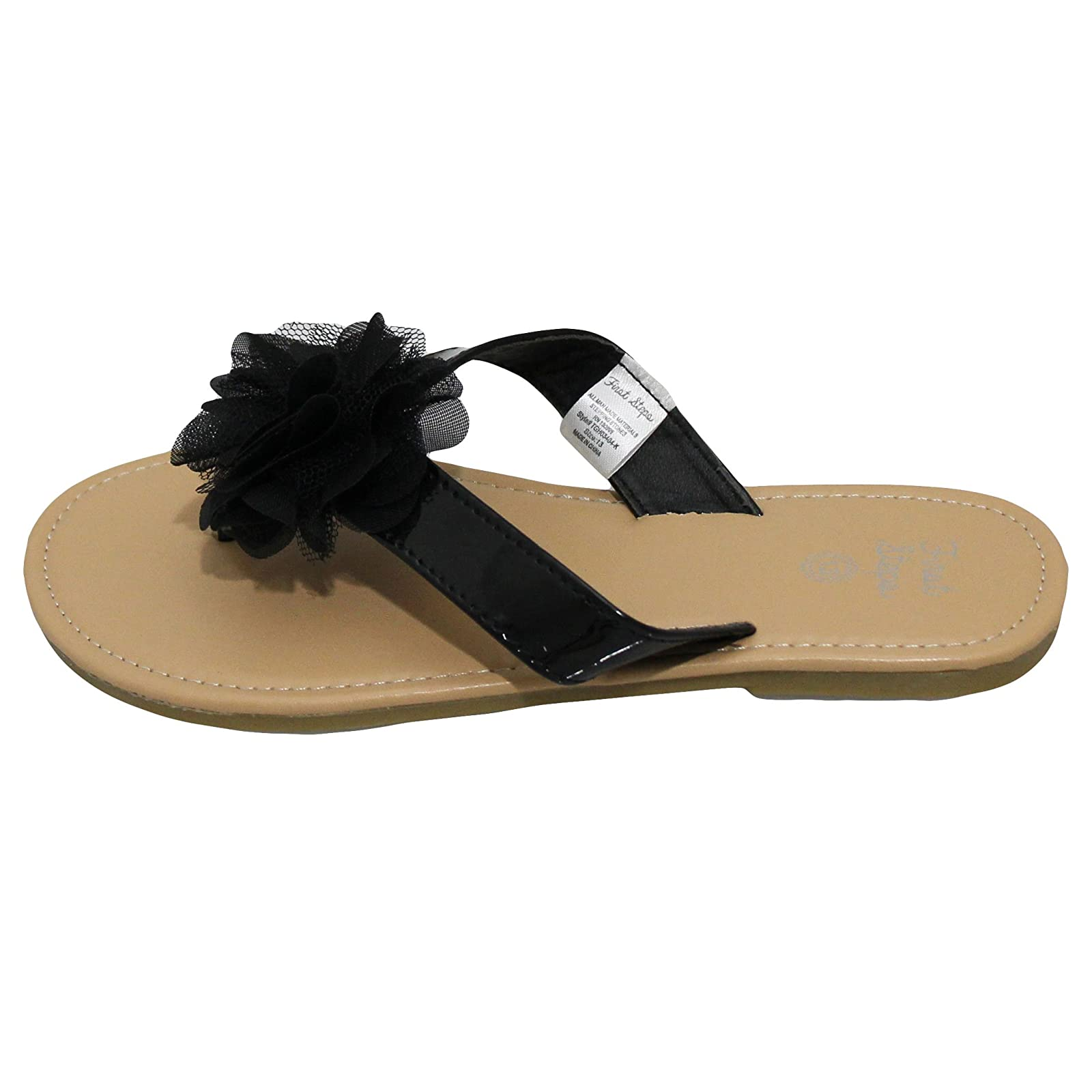 93bb7dcb8bff0 HQ Images of Stepping Stones Girls Black Flip Flop Thong Sandals with  Chiffon Ruffle Flower Hardsole Sandals-Size 12
