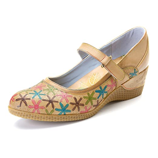 Womens Moccasins Mid Heel Leather Pumps Mary Janes Dress Shoes Summer Flowers Handmade Pattern Shoes Beige